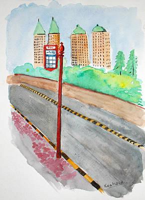 Painting - Bus Stop Inpowai by Keshava Shukla