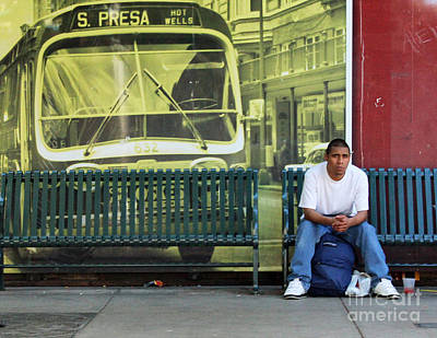 Vintage Bus Photograph - Bus Stop by Joe Jake Pratt