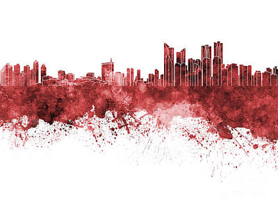 Korea Painting - Busan Skyline In Red Watercolor On White Background by Pablo Romero