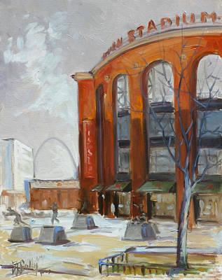 Painting - Busch Stadium Front - St.louis by Irek Szelag