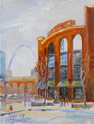 Downtown Painting - Busch Stadium In Saint Louis by Irek Szelag