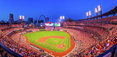 Photograph - Busch Stadium Night Game Panoramic - Saint Louis by Gregory Ballos