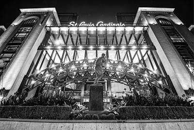 Sports Royalty-Free and Rights-Managed Images - Busch Stadium - Saint Louis Cardinals and Stan Musial Black and White by Gregory Ballos