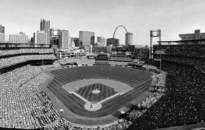 Photograph - Busch Stadium September 2013 Bw by C H Apperson