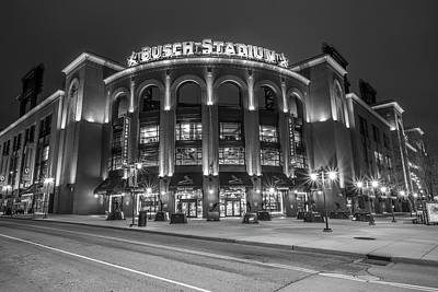 Baseball Royalty-Free and Rights-Managed Images - Busch Stadium St Louis Black and White  by John McGraw