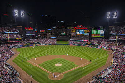Photograph - Busch Stadium St. Louis Cardinals Ballpark Village Night #2d  by David Haskett