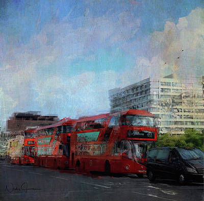 Digital Art - Buses On Westminster Bridge by Nicky Jameson