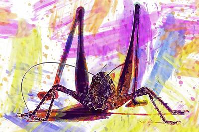Digital Art - Bush Cricket Grasshopper Ornithopter  by PixBreak Art