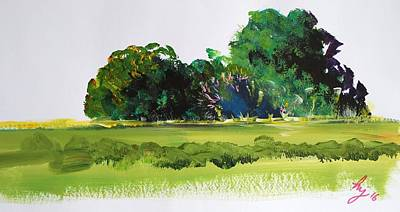 Painting - Bushes - English Devon Countryside by Mike Jory