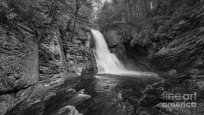 Ps I Love You - Bushkill Falls Panorama BW by Michael Ver Sprill