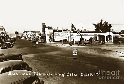 Photograph - Business District, Standard Gas Station, Real Joy Theater, King  City by California Views Mr Pat Hathaway Archives