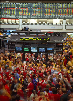 Stock Exchange Photograph - Business Executives On Trading Floor by Panoramic Images