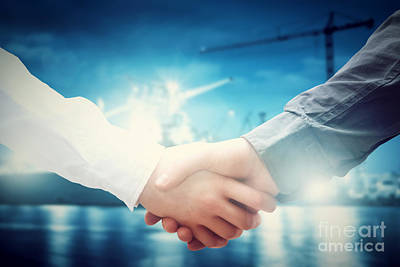 Cranes Photograph - Business Handshake In Shipyard by Michal Bednarek