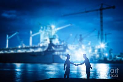 Shake Photograph - Business Handshake In Shipyard, Shipbuilding Company by Michal Bednarek