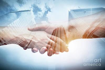 Meeting Photograph - Business Handshake Over Modern Skyscrapers, Double Exposure. by Michal Bednarek