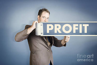 Earnings Photograph - Business Man Holding Financial Profit Street Sign by Jorgo Photography - Wall Art Gallery