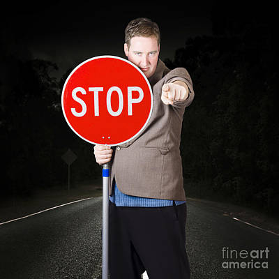 Business Man Holding Road Stop Sign Art Print by Jorgo Photography - Wall Art Gallery