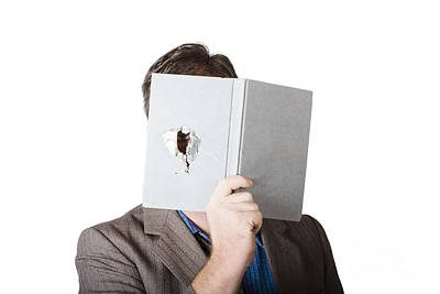 Business Man Peeking Through Spyhole In Book Art Print by Jorgo Photography - Wall Art Gallery