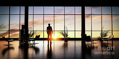 Thoughtful Photograph - Business Man Standing In The Office Looking Out Of The Window At Sunset Sky. by Michal Bednarek