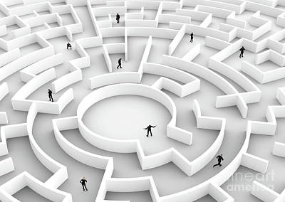 Corridor Photograph - Business People Competition - Finding A Solution Of The Maze., One Winner. by Michal Bednarek