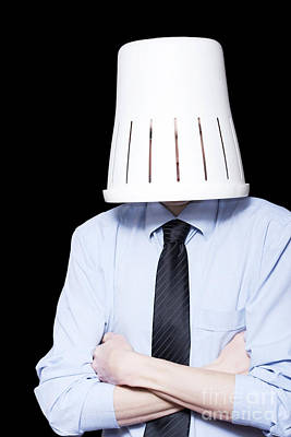 Business Person Under Stress Wearing Paper Bin Art Print by Jorgo Photography - Wall Art Gallery