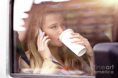 Photograph - Business Woman Having Coffee In The Car by Anna Om