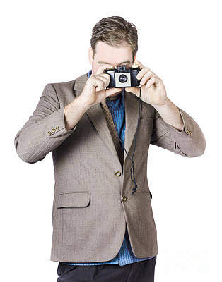 Businessman Capturing Photo Art Print by Jorgo Photography - Wall Art Gallery