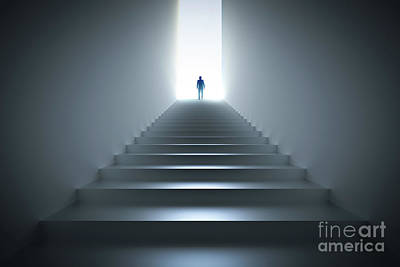 Mysterious Photograph - Businessman Climbing The Stairs Towards Light. by Michal Bednarek