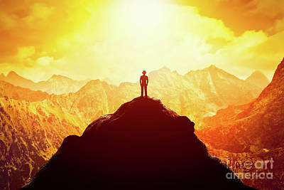 Metaphor Photograph - Businessman In Hat On The Peak Of The Mountain. Business Venture, Future Perspective, Success by Michal Bednarek