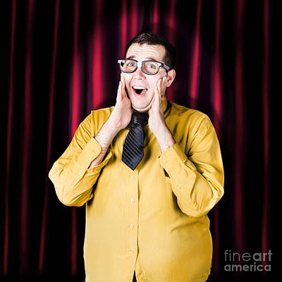 Businessman In Performance Review Spotlight Art Print by Jorgo Photography - Wall Art Gallery