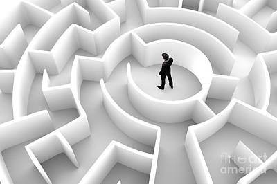 Photograph - Businessman In The Middle Of The Maze. Challenge Concepts by Michal Bednarek