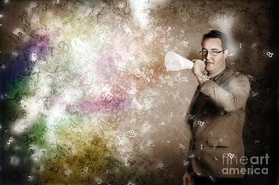 Businessman Making Megaphone Announcement Art Print by Jorgo Photography - Wall Art Gallery