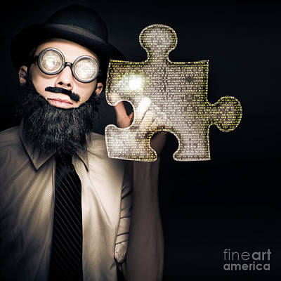 Businessman Puzzle Solving With Digital Solutions Art Print by Jorgo Photography - Wall Art Gallery