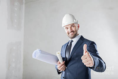 Photograph - Businessman Showing Ok Gesture, Approving The Building Progress. by Michal Bednarek