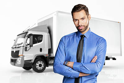 Photograph - Businessman Standing In Front Of A Truck. by Michal Bednarek