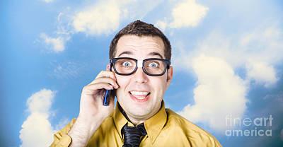 Businessman Talking The Talk. Cloud Background Art Print