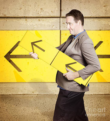 Earnings Photograph - Businessman With Arrow Sign Signalling Growth by Jorgo Photography - Wall Art Gallery