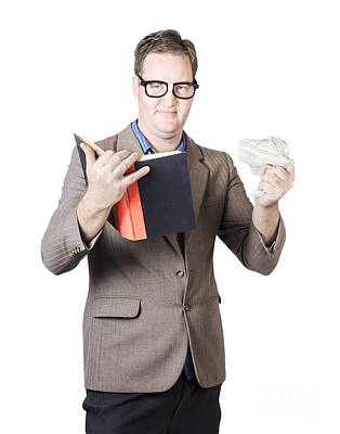 Businessman With Book And Crumpled Paper Art Print by Jorgo Photography - Wall Art Gallery