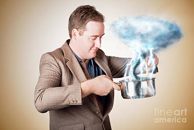 Businessman With Plan Cooking Up Strategic Storm Art Print by Jorgo Photography - Wall Art Gallery