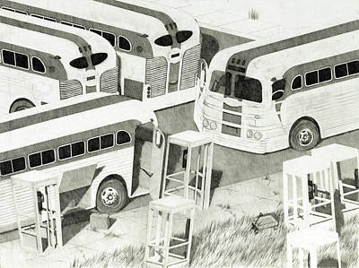Lincoln Memorial Drawing - Busses Chillin' II by John Grazier