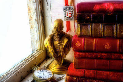Photograph - Bust And Old Books by Garry Gay