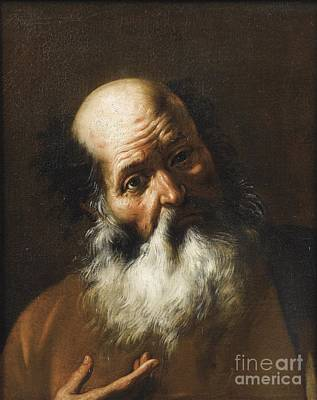 Male Painting - Bust Of A Bearded Man by Celestial Images