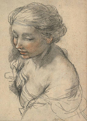 Turn Of The Century Drawing - Bust Of A Young Woman Turned To The Left by Pietro da Cortona