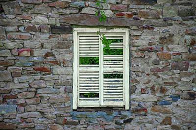 Bridgetown Photograph - Busted Shutter On Bridgetown Mill House Ruin - Bucks County Pa  by Bill Cannon