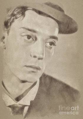 Music Legend Drawing - Buster Keaton, Hollywood Legend By John Springfield by John Springfield