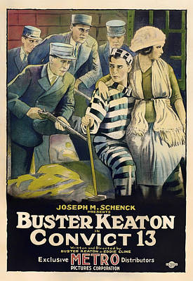 Jail Mixed Media - Buster Keaton In Convict 13 1920 by Mountain Dreams