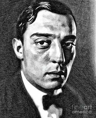 Musicians Drawings - Buster Keaton, Vintage Comedian and Actor by JS by Esoterica Art Agency