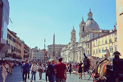Photograph - Bustling Piazza Navona by JAMART Photography