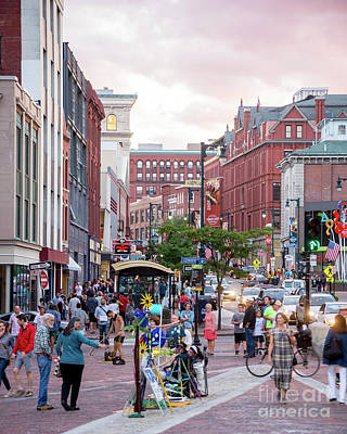 First Friday Photograph - Busy Art Walk Sidewalk In Monument Square by Corey Templeton