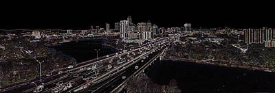 Digital Art - Busy Austin In Glowing Edges by James Granberry